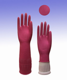 Extended thickening latex household gloves