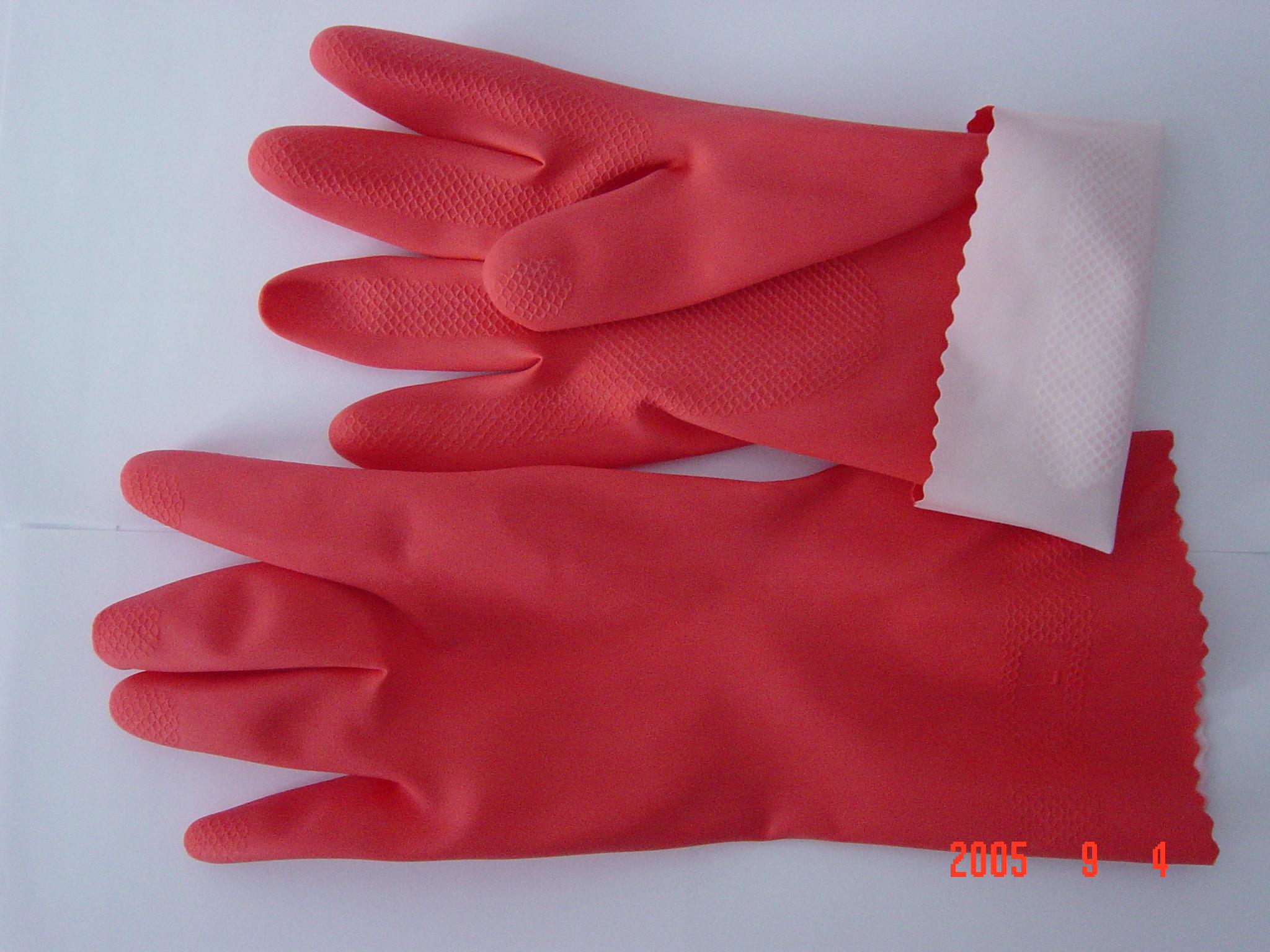 鱼鳞纹光里卷边家用手套